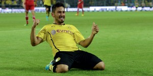 DORTMUND, GERMANY - JULY 27:  Ilkay Guendogan of Dortmund celebrates after scoring his team's 3rd goal during the DFL Supercup match between Borussia Dortmund and FC Bayern Muenchen at Signal Iduna Park on July 27, 2013 in Dortmund, Germany.  (Photo by Sascha Steinbach/Bongarts/Getty Images)