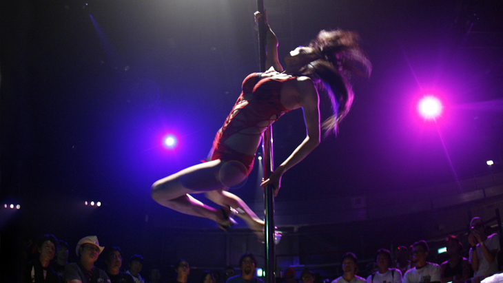 Pole dancer performs during Chopper Night 2008 in Tokyo