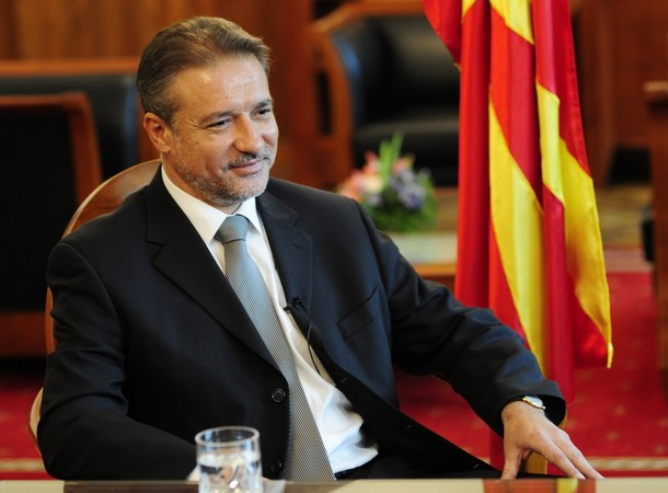 Macedonia's President Crvenkovski speaks during an interview with Reuters in Skopje