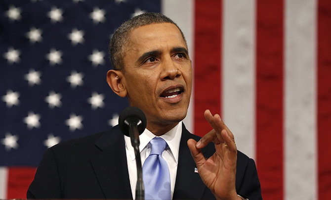 US President Barack Obama delivers his State of the Union address.