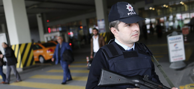 epa05227280 Turkish police on duty near Ataturk Airport in Istanbul, Turkey, 23 March 2016. Security was tightened across Europe and transport links paralysed after terrorists carried out attacks at Brussels airport and the metro system on 22 March 2016 which claimed multiple lives and injured many others.  EPA/SEDAT SUNA
