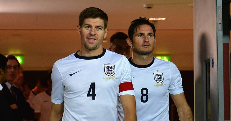 LONDON, ENGLAND - SEPTEMBER 06: Steven Gerrard and Frank Lampard walk out for the 2nd half during the FIFA 2014 World Cup Qualifying Group H match between England and Moldova at Wembley Stadium on September 6, 2013 in London, England.  (Photo by Michael Regan - The FA/The FA via Getty Images)