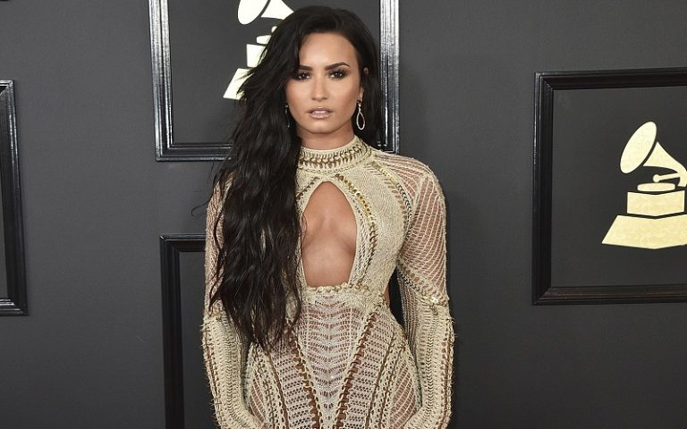 Demi Lovato arrives at the 59th annual Grammy Awards at the Staples Center on Sunday, Feb. 12, 2017, in Los Angeles. (Photo by Jordan Strauss/Invision/AP)