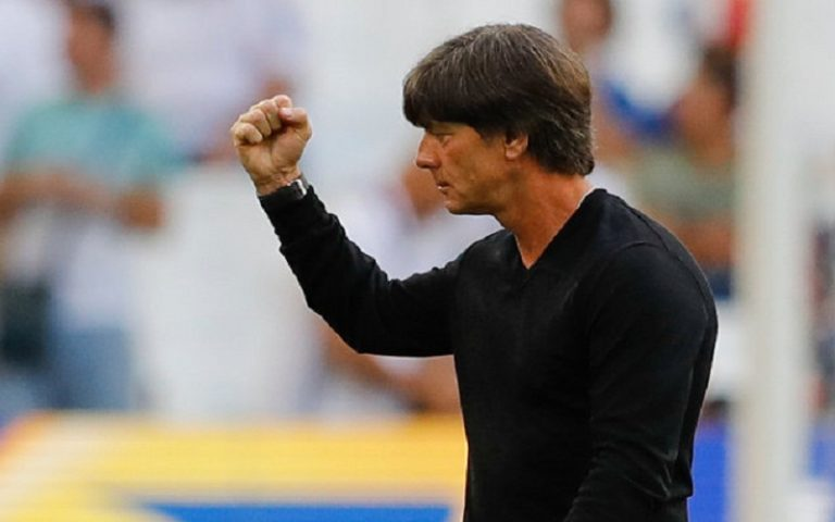 Germany coach Joachim Loew walks on the pitch prior to the Euro 2016 semifinal soccer match between Germany and France, at the Velodrome stadium in Marseille, France, Thursday, July 7, 2016. (AP Photo/Frank Augstein)