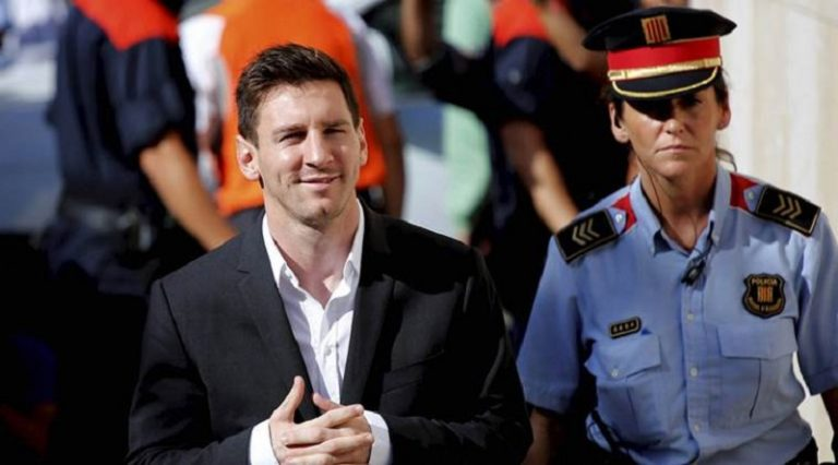Gava : FILE - In this Sept. 27, 2013 file photo, FC Barcelona soccer player Lionel Messi, left, arrives at a court to answer questions in a tax fraud case in Gava, near Barcelona, Spain. Lionel Messi has lost his Supreme Court appeal over a tax-fraud conviction in Spain. The court has confirmed on Wednesday May 24, 2017, the 21-month prison sentence handed to Messi for defrauding tax authorities of 4.1 million euros from 2007-09. He is not expected to go to prison because sentences of less than two years for first offences are usually suspended in Spain.AP/PTI(AP5_24_2017_000169B)