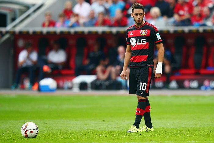 during the Bundesliga match between Bayer Leverkusen and SV Darmstadt 98 at BayArena on September 12, 2015 in Leverkusen, Germany.